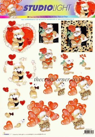 Cheeky Love Heart Bears In Underwear Designs 3d Decoupage Sheet